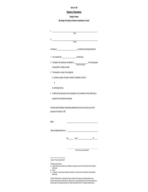 statutory declaration template name change statutory declaration change of trustee form free