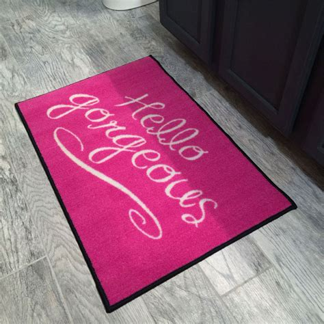 Pink Doormat pink hello gorgeous welcome novelty door mat