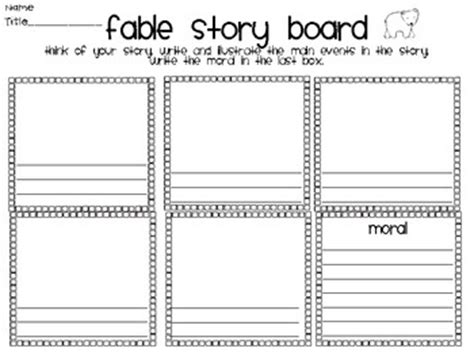 literacy activities graphic organizers fables