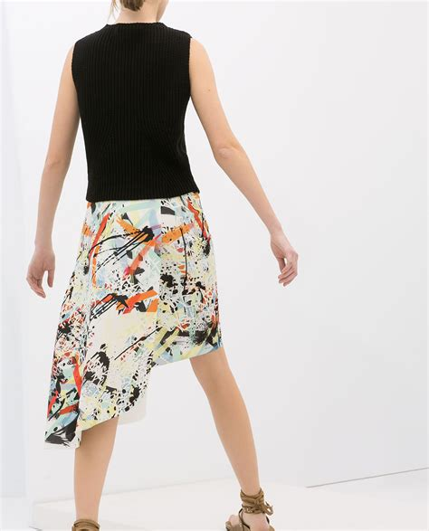 Zara Emboss Skirt zara printed asymmetric skirt lyst