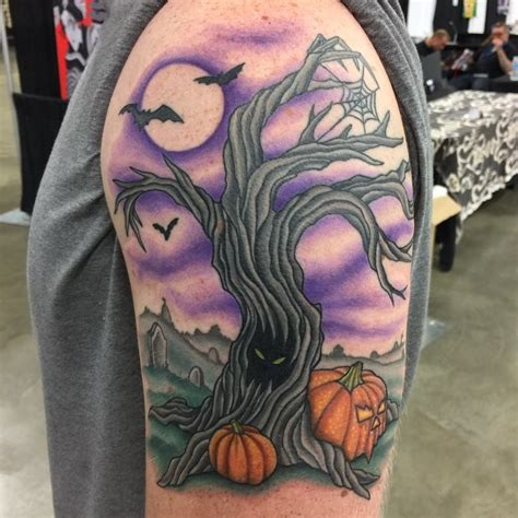 cartoon tree tattoo vintage cartoon like colored creepy tree tattoo on