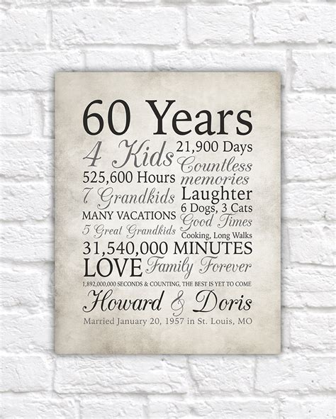 65th Wedding Anniversary Card Verses by 60th Anniversary Gift 60 Years Married Or Any Year Gift