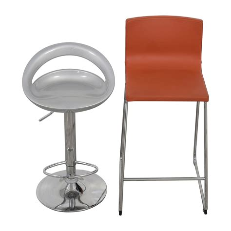Orange Bar Stools For Sale by 75 Pair Of Modern Orange And Silver Bar Stools Chairs