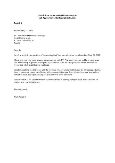 Contoh Application Letter Yang Singkat Surat Lamaran Kerja Dalam Bahasa Inggris Yang Baik Dan Benar Ben