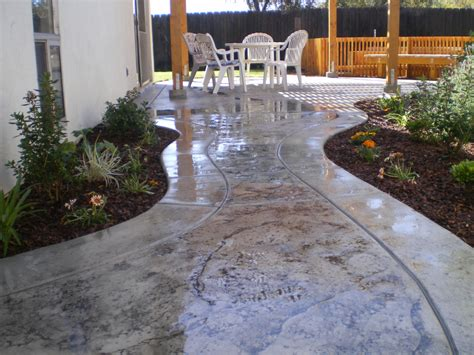 Backyard Concrete Patio After Stamped Concrete Patio And Walkway Peak Landscape