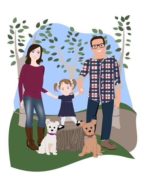 family of 5 drawing www pixshark images galleries