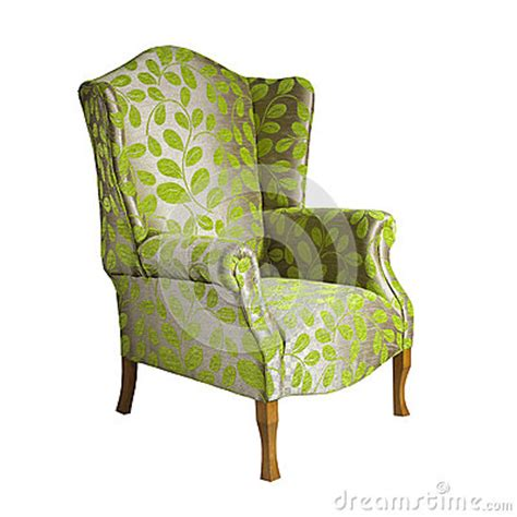 leaf pattern armchair green fabric arm chair isolated on white background