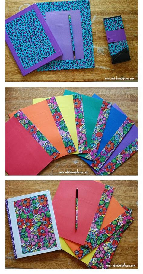 How To Make A Paper Folder For School - diy matching school supplies just this is awesome