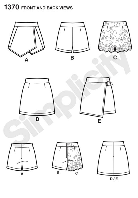 pattern viewer download simplicity 1370 misses shorts skort and skirt