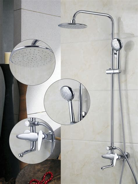 Bathroom Shower Sets 3 Function Water Outlet Chrome Shower Set A Grade Abs Shower Faucet Bathroom Bath Shower Faucet