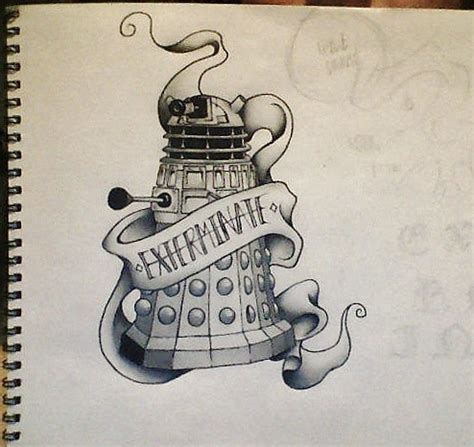 dalek tattoo style finished by jenniinoue on deviantart