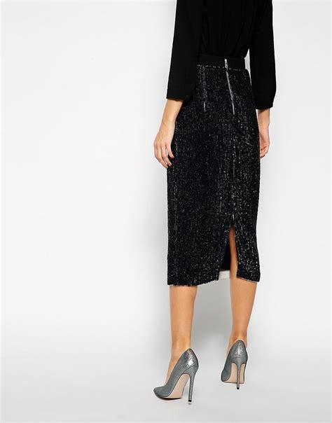 asos black asos black sequin embellished midi skirt at asos