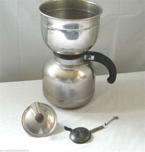 Vaccum Coffee Pot vintage nicro stainless steel vacuum coffee maker pot made in the usa