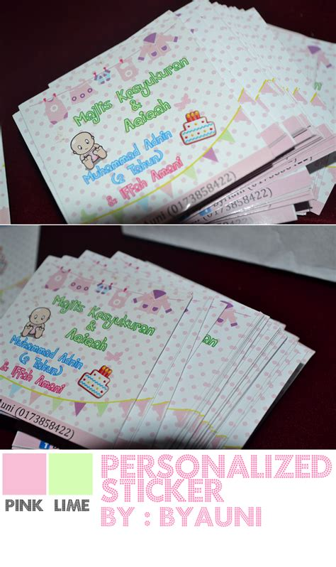 contoh design sticker aqiqah by auni the designer personalized sticker for majlis