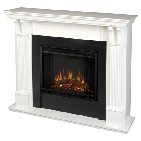 electric led fireplace shop real 48 in w 4780 btu white wood led electric