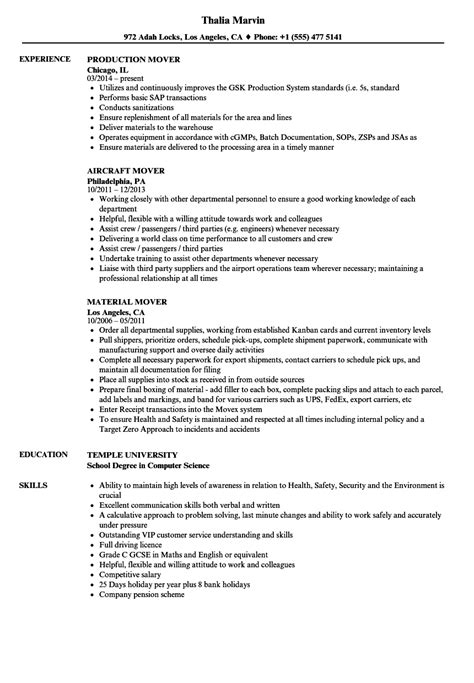 Mover Resume by Mover Resume Resume Ideas