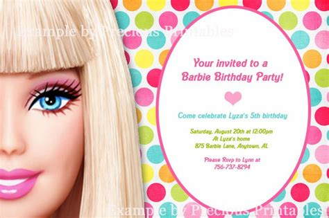 barbie invitation barbie birthday party pinterest