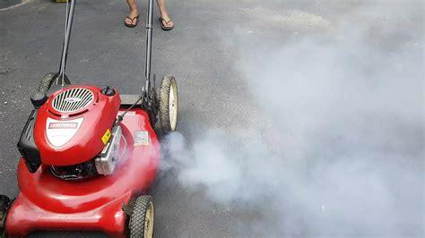 lawn mower blows white smoke  leaks oil youtube