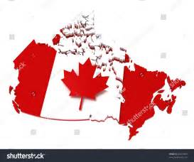 canada map with flag with clipping path 3d illustration