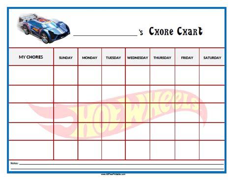 printable a3 reward charts hot wheels chore chart free printable allfreeprintable com