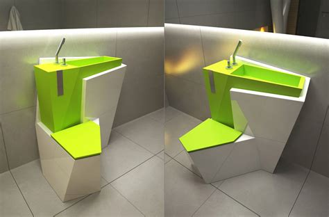 Toilet Sink Combination by Za Bor Architects Proposes An Optimal Combination Of The