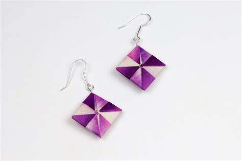 How To Make Origami Jewelry - how to make origami earrings