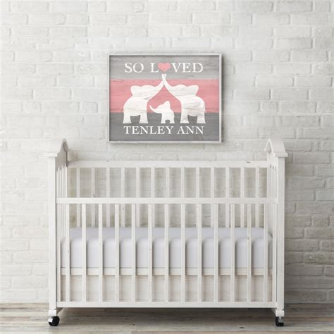 Name Wall Decor For Nursery Elephant Nursery Decor Custom Baby Name Wall Elephant