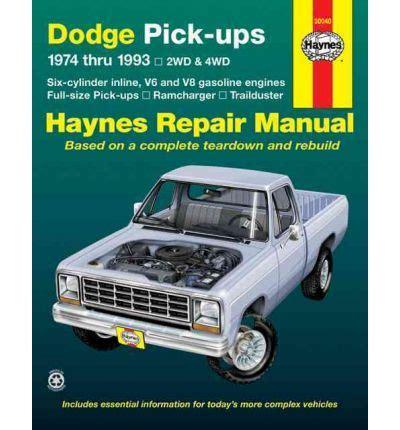 car repair manuals online pdf 1993 dodge d150 security system dodge pick ups 74 93 automotive repair manual sagin workshop car manuals repair books