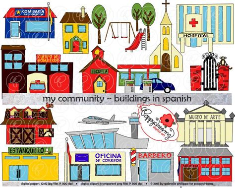 my house in spanish my community buildings in spanish clipart 300 dpi