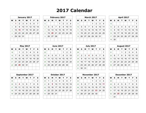 2017 yearly calendar printable landscape free printable calendar templates 2017 printable