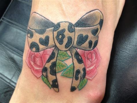 leopard rose tattoo leopard print bow and roses bow