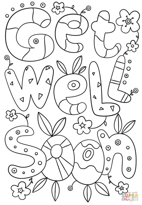 get well card coloring template get well soon doodle coloring page free printable