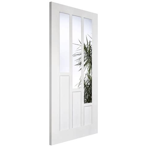 White Glass Door Lpd Coventry White Primed Clear Glass Door Leader Doors
