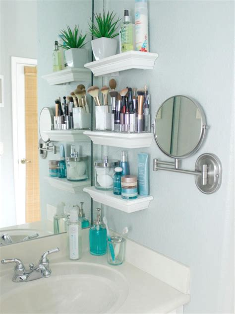 Organization And Storage Ideas For Small Spaces Hgtv Bathroom Shelves For Small Spaces
