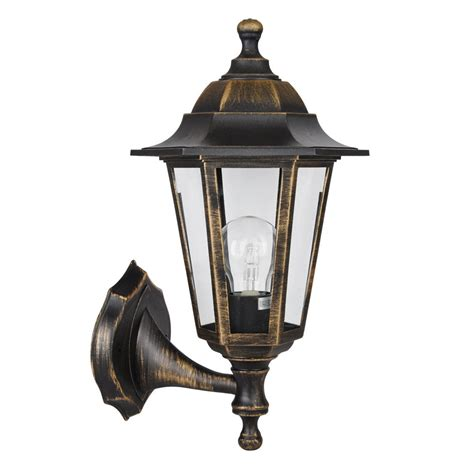 Vintage Style Brushed Gold Black Outdoor Garden Wall Lantern Patio Lights