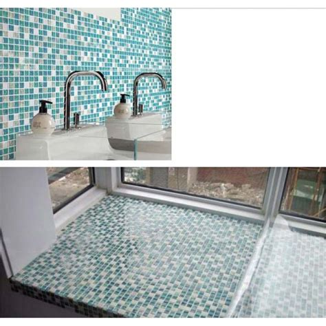 blue tile kitchen backsplash cream stone crackle crystal tile backsplash blue glass