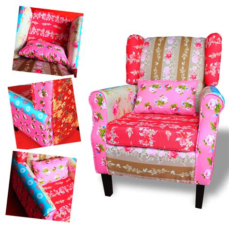 patchwork chair relax wing armchair multi colored settle