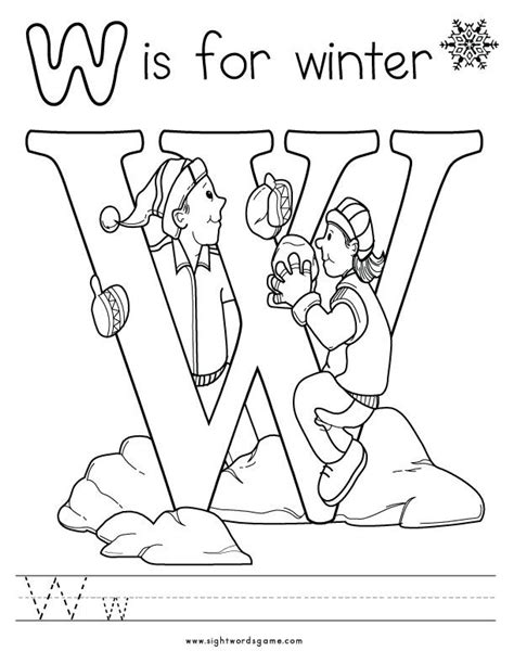 Preschool Coloring Pages Letter W | letter w coloring page 2 letters of the alphabet