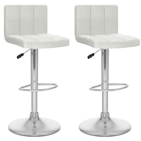 breakfast bar stools with backs 32 quot high back adjustable bar stool in white set of 2 b