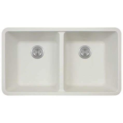 White Undermount Kitchen Sinks Polaris Sinks Undermount Composite 33 In Basin Kitchen Sink In White P208 White The