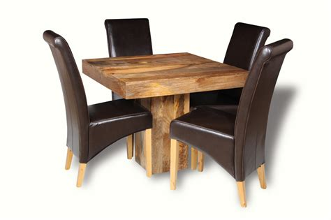 cube dining set with leather chairs light dakota 90cm cube dining table 4 rollback chairs