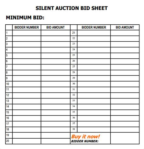 silent auction bid sheet template 9 free