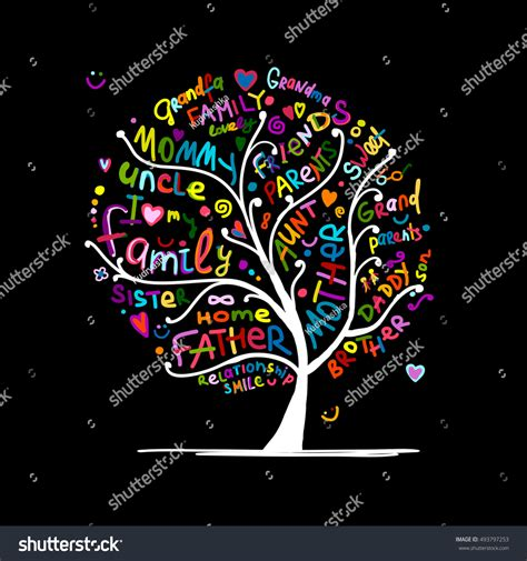 Family Tree Sketch Your Design Vector Stock Vector 493797253 Shutterstock At Family Tree For Your Design