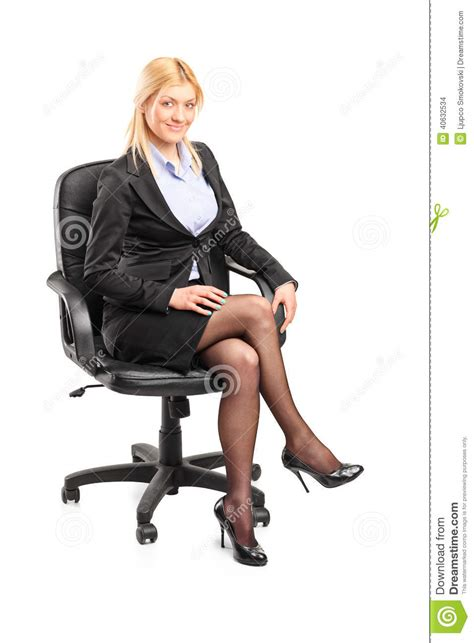 White Sitting Chair Businesswoman Sitting On An Office Chair Stock Photo