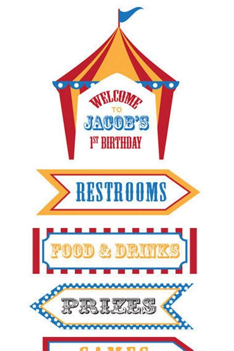 Circus Signs Template by Dumbo Circus Personalized Birthday Directional Sign