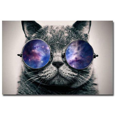 nicoleshenting galaxy glasses cat funny art silk poster