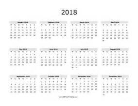 2018 calendar printable yearly calendar template