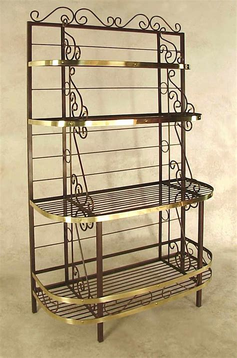 Wrought Iron Bakers Rack by Gourmet Bakers Rack With Wine Rack