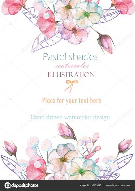 imagenes flores tiernas plantilla tarjeta postal con acuarela flores tiernas y