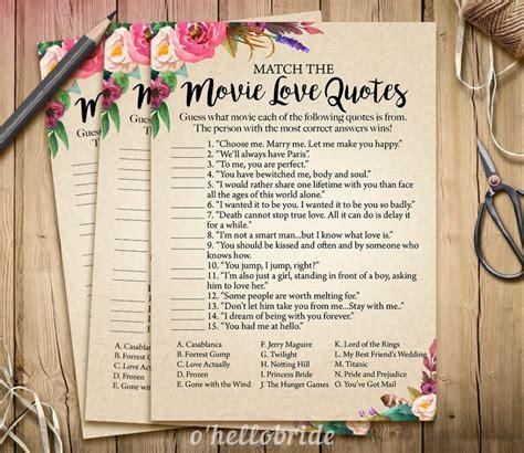 Movie Love Quote Match Game Printable Boho Bridal Shower | movie love quote match game printable boho bohemian